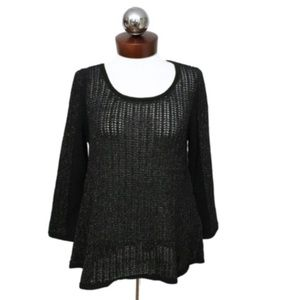 New LUCKY brand swing metallic open knit sweater S